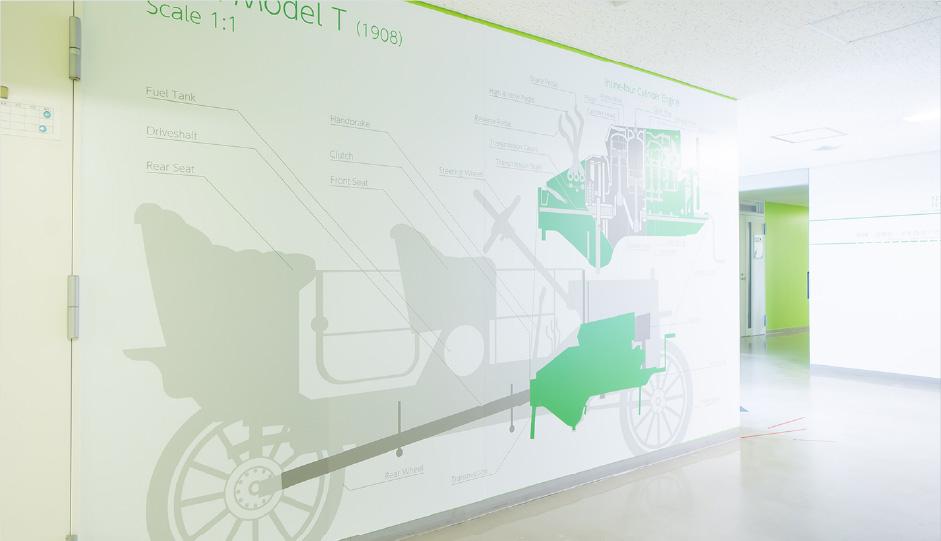 N 棟1 階「T 型フォードの原寸断面図+ エンジン断面図」